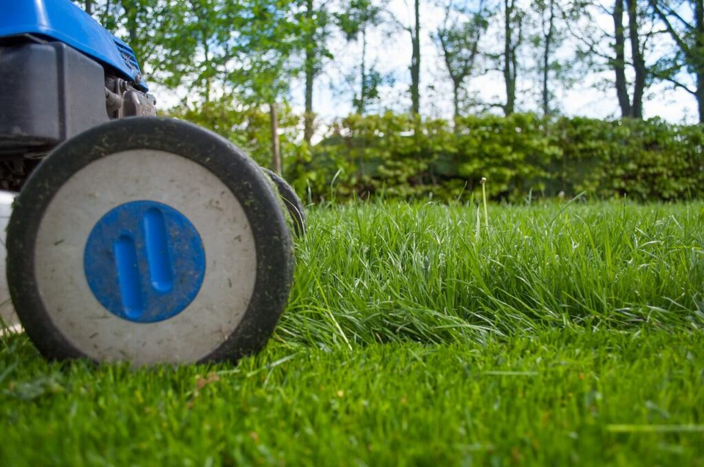 Mowing Wet Grass with mower