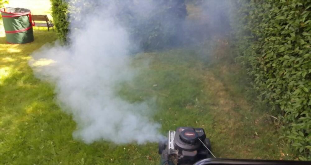 Smoking Lawn Mower